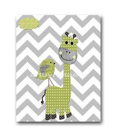 Giraffe Nursery Baby Boy Nursery Art Nursery wall art baby nursery kids room decor Kids Art Boy Print bird nursery green gray giraffe by artbynataera on Etsy