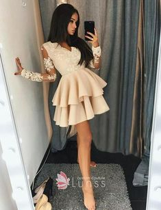 Dazzling V Neck Prom Dresses, A-Line Homecoming Dresses, Long Sleeves Prom Dresses, Prom Dresses Lace - dress Long Sleeve Homecoming Dresses, Prom Dresses With Sleeves, Grad Dresses, Sexy Dresses, Cute Dresses, Evening Dresses, Fashion Dresses, Dress Prom, Dresses With Lace