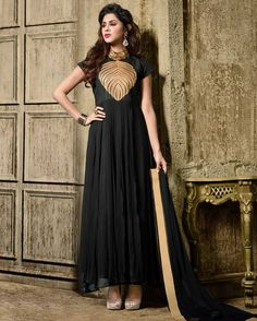 Black smart Embroidered Faux Georgette Salwar Suits for women(Semi Stitched) Fabric: Faux Georgette Work: Embroidered Type: Salwar Suits for women(Semi Stitched) Color: Black Fabric Top Faux Geor