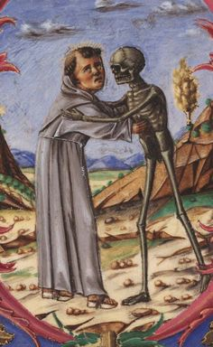 Detail of a FRANCISCAN FRIAR embracing DEATH.  Italy, mid-15th century. +Free Library of Philadelphia, Rare Book Department, Lewis E M 029:02+