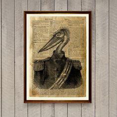 Bird print Pelican poster Rustic decor Animal art by wordantique