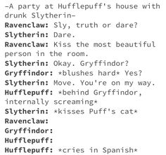 Tis' me as a slytherin. * cooning noises* Where kitty? There kitty! So soft. Much fluffy. Such adorable. Harry Potter World, Cute Harry Potter, Harry Potter Jokes, Harry Potter Universal, Harry Potter Fandom, Harry Potter Hogwarts, Dramione, Drarry, Fandoms