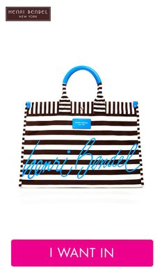 Signature Stripe Canvas Tote, Henri Bendel in black! Three Friends, Striped Canvas, Henri Bendel, Casual Bags, Blog, Purses, My Style, Gifts, Accessories