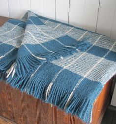 Handwoven Teal and Gray Windowpane Wool Blanket by aclhandweaver