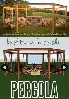 Build the perfect pergola! Learn to DIY this beautiful circular pergola with a c. Build the perfect pergola! Learn to DIY this beautiful circular pergola with a central firepit, swings, and Adirondack chairs - Little White House Blo. Diy Pergola, Outdoor Pergola, Pergola Ideas, Outdoor Swings, Pergola Swing, Pergola Roof, Cheap Pergola, Outdoor Fire, Pergola Designs