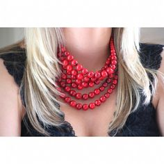 Red Bauble Collar Cascading Necklace  $35