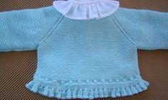 tutorial para hacer jersey de bebé, baby cardigan Knitting For Kids, Free Knitting, Knitting Projects, Baby Knitting, Crochet Baby, Crochet Projects, Knitting Patterns, Knit Crochet, Bebe Baby
