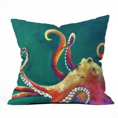Mardi Gras Octopus Throw Pillow, $35, now featured on Fab.