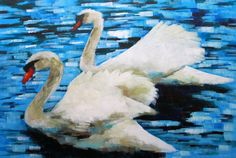 Abstract Impressionist Art: Two Swans Painting for Sale
