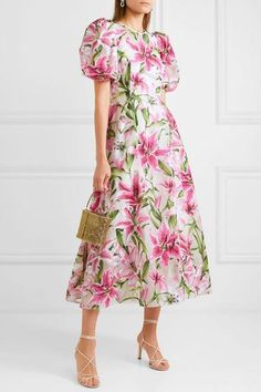 Multicolored organza Concealed hook and zip fastening along back polyamide, silk Dry clean Made in Italy Elegant Dresses Classy, Elegant Dresses For Women, Classy Dress, Beautiful Dresses, Estilo Fashion, Ideias Fashion, Modest Dresses, Summer Dresses, Midi Dresses