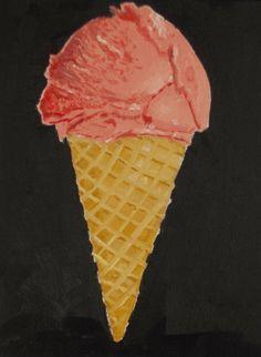 Ice Cream Cone -- Original Oil Painting on Canvas Panel, 8 x 6 inches