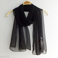 New-Fashion-Style-Lady-Oblong-Pure-Color-Chiffon-Shawl-Long-Beach-Scarf-Black