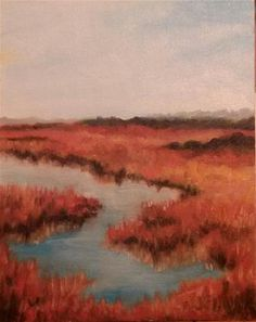 "Daily Paintworks - ""On the marsh"" - Original Fine Art for Sale - © Jeanie Bates"