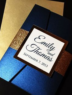 Gold Glitter Wedding Invitation, Luxury Pocketfold Wedding Invitation, Elegant Wedding Invitation, Formal Wedding Invitation, Navy Blue Navy and gold are a popular #weddinginvitation color combination. This suite can be created with or without a pocketfold if a less formal look is desired. Are these your wedding colors? Are you ready to get started? Contact me to get that #soireesparkle for your #weddinginvitations! #navyandgold
