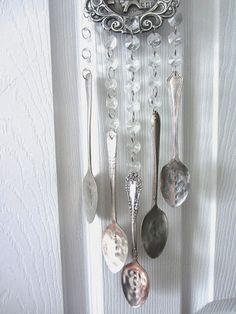 wind chime with french words on antique french spoons