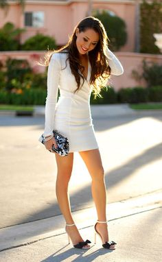 "formmb: ""The gorgeous Jessica Ricks in a long sleeved, white mini dress. The type of women who is the hottest in the club and a favorite of your parents. Jessica Ricks, Beautiful Legs, Gorgeous Women, Beautiful Dresses, Tight Dresses, Sexy Dresses, Mini Dresses, Fashion 2017, Womens Fashion"
