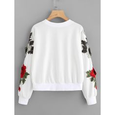 SheIn(sheinside) 3D Embroidered Applique Mesh Insert Pullover ($16) ❤ liked on Polyvore featuring tops, long sleeve tops, embroidered long sleeve top, sweater pullover, white long sleeve top and long sleeve pullover