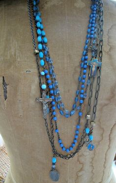 Bell Bottom Blues...5 strand vintage assemblage..layered rosaries. 159.00, via Etsy.
