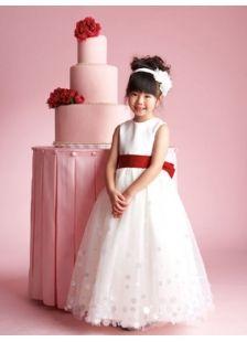 10b36964e red and white flower girl dresses   Red Satin Flower Girl Dress With Sashes /Ribbons
