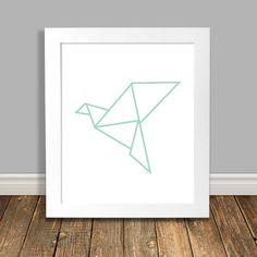 Origami Crane Art Print Geometric Art Origami Bird Mint Nursery Art Animal Nursery Art Printable Art Downloadable Poster - 8x10 11x14