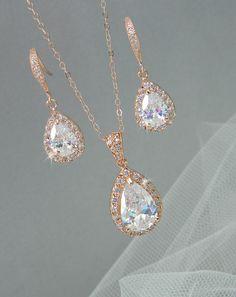 Rose Gold Bridal Set Bridesmaids Jewelry Set von CrystalAvenues, $60.00