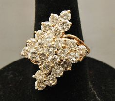 Vintage 3.5ct Diamond Cluster Ring - Circa 1970s - With Independent Appraisal on Etsy, $4,298.79 CAD