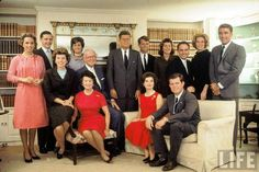 Camelot: The term for the Kennedy White House was coined by Jackie, seated here in front of Bobby in a family photo on JFK's 1960 victory. The Kennedy Clan at home on the evening following John F. Kennedy's election as President. Seated Front Row (L-R) Eunice Shriver, Rose, Joseph, Jackie and Ted. Back Row (L-R) Ethel, Stephen and Jean Smith, John, Bobby Pat Lawfors, Sargent Shriver, Joan and Peter Lawford. Location: Hyannis Port, MA, US Date taken: November 1960 Photographer: Paul…