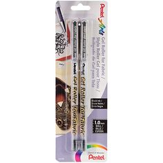 Pentel Arts Gel Roller for Fabric, Bold Lines, Permanent, Black Ink, Pack of 2 Fabric Pen, Fabric Painting, Artist Painting, Roller Pen, Writing Correction, Quilt Labels, Rollerball Pen, Gel Pens, School Supplies