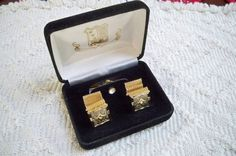 Vintage Cufflinks and Tie Tack 1960's Gold by ThisandThatCapeCod, $26.50