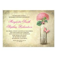 vintage wine bottle with pink hydrangea flower and rustic burlap background rehearsal dinner invitations. Best for garden, country or vineyard weddings and dinners. Bridal Shower Flowers, Blue Wedding Flowers, Blue Flowers, Floral Wedding, Hydrangea Flower, Yellow Wedding, Rehearsal Dinner Invitations, Rehearsal Dinners