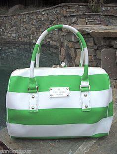 Kate Spade Melinda High Falls Striped Satchel Cream Sprout Green Leather EUC | eBay