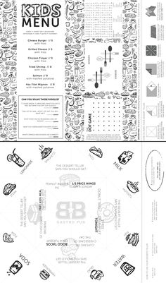 The Butcher and Bottles NEW kids menu! Designed by Garnished at www.garnisheddesigns.com