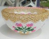 Coupelle fleurs en perles : Accessoires de maison par les-perles-de-laetitia