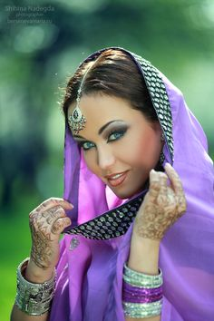 Purple   Indian bride. She's stunning!