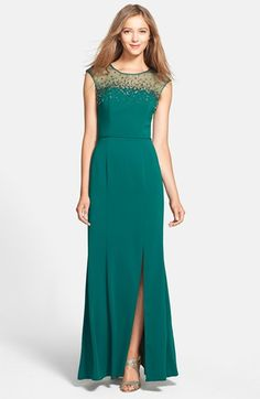 JS Boutique Beaded Crepe Gown available at #Nordstrom