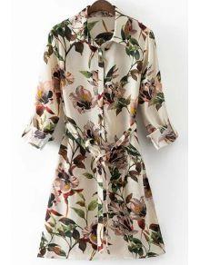 Floral Print Shirt Collar Long Sleeve Belted Shirt Dress