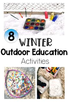 Take kids outside - even in the cold, with these winter activities for kids. Creative, but simple ideas to keep kids busy, and learning outdors. #winteractivities #winteractivitiesforkids #outdoorlearningactivities