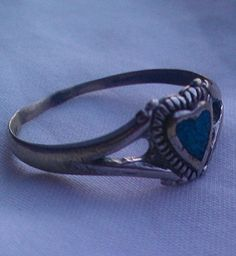 Vintage Turquoise Ring In Heart Shaped Setting by MosaicMaddness, $12.00