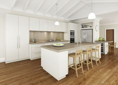 This concept features Caesarstone benchtops & splashback, wide drawers and Neff cooking appliances.