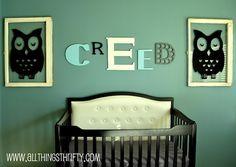 All Things Thrifty Home Accessories and Decor: Baby Boy Nursery Completed!   I really like the matching owls in frames, and the style of the name over the crib.
