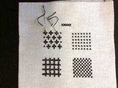 Cross stitch patterns in blackwork embroidery