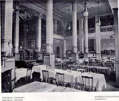 Una veduta del raffinato interno del Ristorante Birreria Casanova, poi Carminati, in Piazza Duomo nel 1907. Il locale è stato completamente smantellato e oggi vi trova posto uno squallidissimo McDonald's...