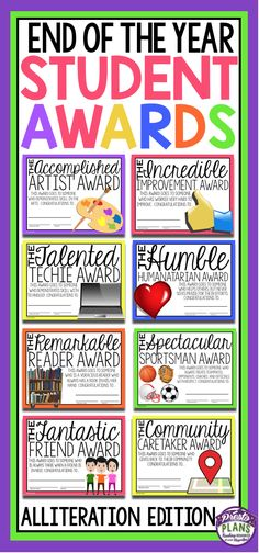 End your school year by giving your students these 30 ready-to-print awards! Each of the award titles include alliteration (Examples: The Humble Humanitarian Award, The Talented Techie Award, The Patient Problem-Solver Award etc. End Of School Year, School Fun, Middle School, School Stuff, School Daze, School Ideas, Student Rewards, Student Gifts, School