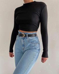 Mode Inspiration und Trend Outfits für lässigen Look Cute Casual Outfits, Basic Outfits, Mode Outfits, Fashion Outfits, Basic Ootd, Looks Style, Casual Looks, Look Retro, Looks Black
