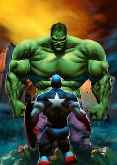 The Hulk vs Captain America by Valzonline   Carlos Valenzuela