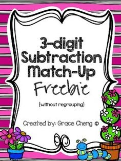 This is a fun and engaging 3-digit subtraction without regrouping activity.  Use with small groups or whole class.  The pack includes cards with 12 problems written horizontally and vertically, answer cards, and a recording sheet.This freebie is included with other addition and subtraction activities in my product Spring Math Centers available in my store!This product is for single use only.