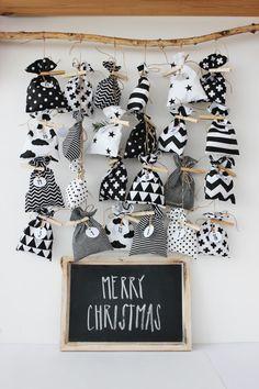 "Adventní kalendář \""Black & White\"" Christmas Items, Merry Christmas, Xmas, Advent Calendar, Homemade, Diy, Holiday Decor, School, Home Decor"