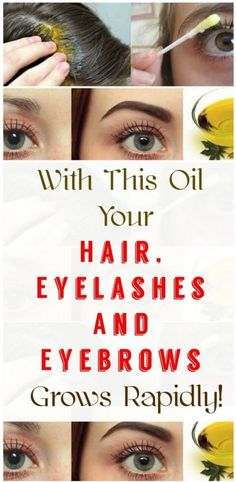 With This Oil Your Hair Eyelashes And Eyebrows Grows Rapidly! - May 25 2019 at Beauty Hacks For Teens, How To Grow Eyebrows, Grow Eyelashes, Thicker Eyebrows, Best Eyebrow Products, Beauty Products, Hair Products, Health And Beauty Tips, Health Tips
