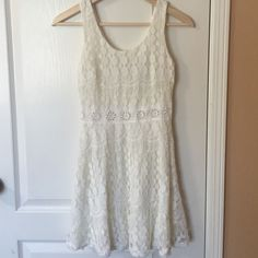 Cream Mini Dress Lacey cream dress with back zipper, worn once. Dresses Mini
