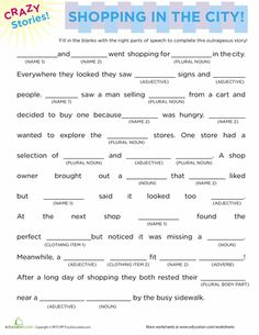 Fill In The Blanks Story Shopping